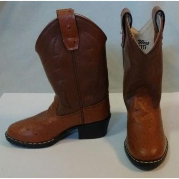 07c20ad1721 OLD WEST OSTRICH PRINT WESTERN Cowboy Boots EUC